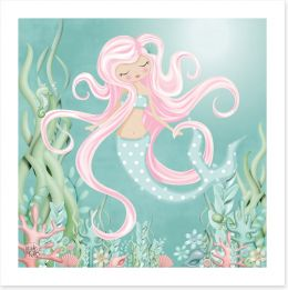 The mermaid with pink hair Art Print KB0005