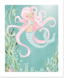 The mermaid with pink hair Art Print KB0010