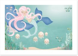 Mermaid and the whale Art Print KB0015