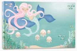 Mermaid and the whale Stretched Canvas KB0015