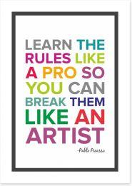Learn the rules like a pro Art Print SD00022