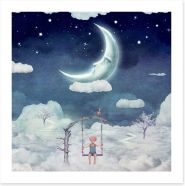 Hanging with the moon Art Print 101388759