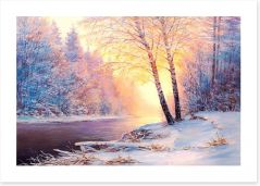 Winter river sunlight Art Print 128746358