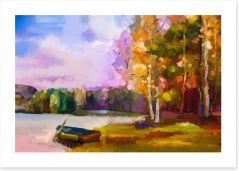 The boat at the lake Art Print 129052036