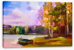 The boat at the lake Stretched Canvas 129052036