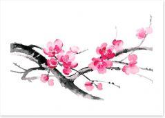 Cherry blossom branch Art Print 133801986