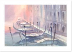 Gondolas in the mist Art Print 136942051