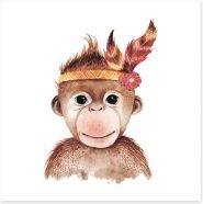 Little boho monkey Art Print 156635749
