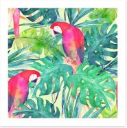 Parrot and palms Art Print 158576346