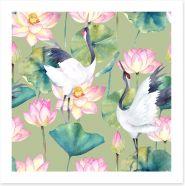 Cranes and lotus Art Print 176260305