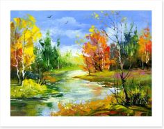 Autumn river Art Print 21413236