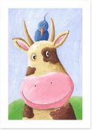 Blue bird and cow Art Print 24324115