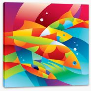 Colourful fishes in the coral Stretched Canvas 27873198