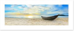 Wooden boat on the beach Art Print 35031661