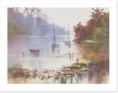 Moored in the mist Art Print 385519753