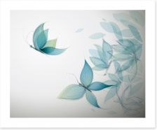 Azure butterfly leaves Art Print 40939035