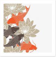 Lotus and koi Art Print 42915902
