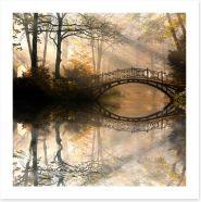 Old bridge in the misty park