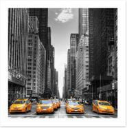 Yellow taxi avenue Art Print 44846834