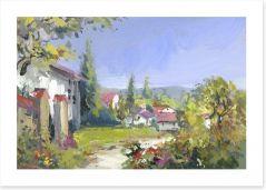 Summer day in the village Art Print 49042349