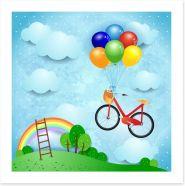 Bike and balloons Art Print 49970100