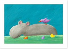 Hippo and bird Art Print 51173894