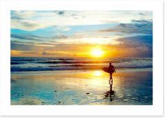 Surfing sunrise Art Print 52585196