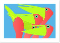 Pink and lime pelicans Art Print 5260055