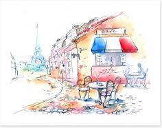 The little Parisian cafe Art Print 52737089