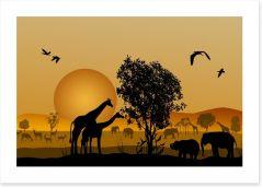 Golden safari sunset Art Print 52771839