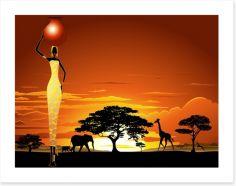 Savanna sunset Art Print 53106558
