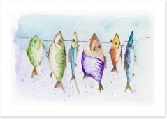 Mackerel on the line Art Print 54269853
