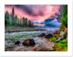 Pink dawn river Art Print 54990367