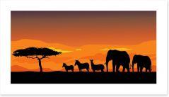 African safari at sunset Art Print 55248732