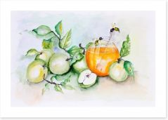 Honey bees and apples Art Print 55759369