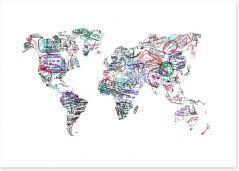Passport stamp world map Art Print 58852742