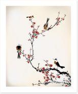 Red blossom birds Art Print 59287052
