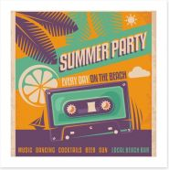 Retro beach party Art Print 60367464