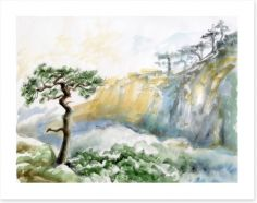 Rocks and pine tree Art Print 60401845