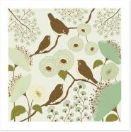 Vintage birds on a branch Art Print 60432028