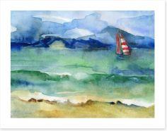 Red stripe sailing boat