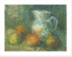 Still life with pitcher and fruit Art Print 60562776