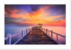 Fiery sunset across the pier Art Print 61181973