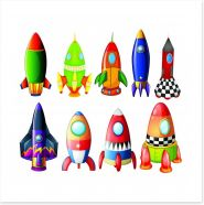 Colourful rockets Art Print 61525825