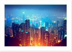 Hong Kong city lights Art Print 63152222