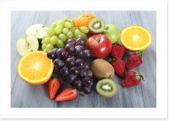 Fruit on the grey table Art Print 63193381