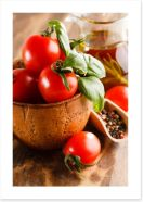 Tomatoes and basil Art Print 63298875