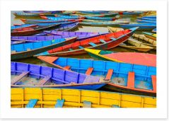 Colourful rowing boats Art Print 63302573