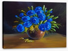 Blue wildflower bouquet Stretched Canvas 66105575