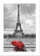 Red umbrella in the Parisian rain
